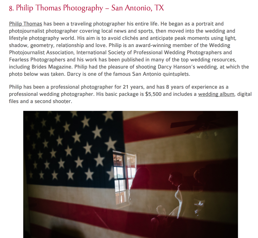 Philip Thomas - Top 20 Wedding Photographer in Texas - Bridebox